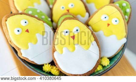 Cute Chickens Easter Background. Iced Sugar Cookies In Bright Frosting. Easter Stilllife With Funny