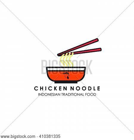 Chicken Noodle Indonesian Food Logo Color Illustration Vector Design