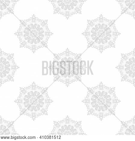 Orient Classic Gray Pattern. Seamless Abstract Background With Vintage Elements. Orient Background.