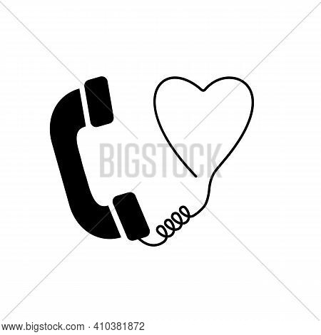 Valentine's Day Theme. Quarantine Love. Old Phone With Heart. Vector Icon