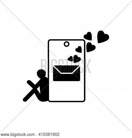 Romantic Vector Icon. Happy Valentine's Day. Love Messages. Quarantine, Distant Lovers