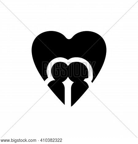 Couple Icon On White Background. Heart, Romantic, Valentine And Love