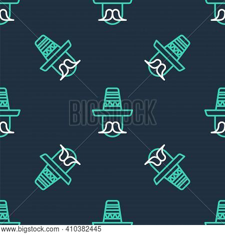 Line Mexican Man Wearing Sombrero Icon Isolated Seamless Pattern On Black Background. Hispanic Man W