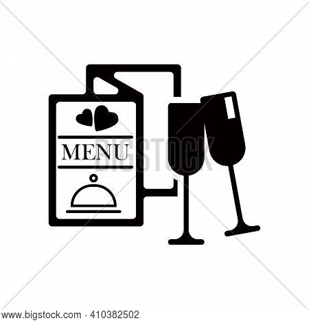 Dinner In A Restaurant. Menu, Vector Icon, Love, Glass And Wine