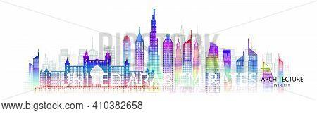Modern Architecture Cityscape Skyscraper United Arab Emirates On Asia Colorful Art. Travel Uae Archi
