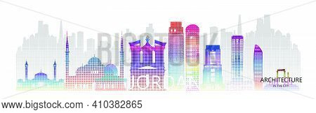 Modern Architecture Skyscrapers In Jordan With Halftone Colorful Of Asia. Tour Amman Architectural L