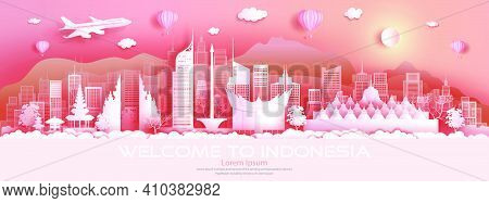 Travel Architecture Indonesia Landmarks In Jakarta Famous City Of Asia On Pink Background With Ballo