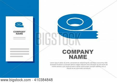 Blue Scotch Tape Icon Isolated On White Background. Insulating Tape. Logo Design Template Element. V
