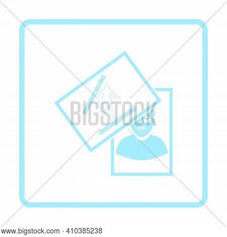 Photograph Evidence Icon. Blue Frame Design. Vector Illustration.