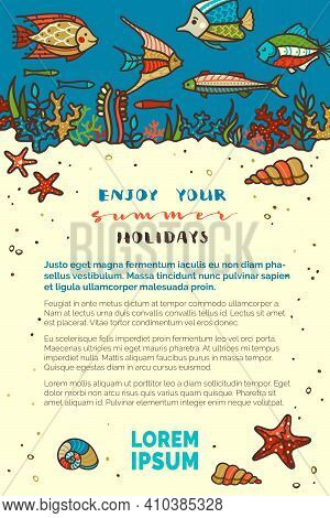 Various Fish, Sea Plants, Corals And Algae, Shells And Starfish, Jellyfish. Light Yellow Sand And Da