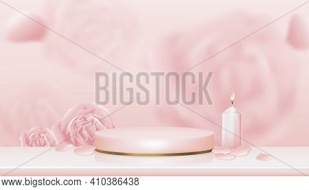 3d Showcase Display English Rose, Candle With Pink And Yellow Gold Stand,vector Realistic Podium On