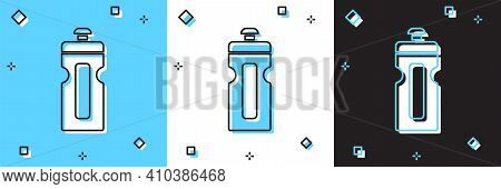 Set Fitness Shaker Icon Isolated On Blue And White, Black Background. Sports Shaker Bottle With Lid