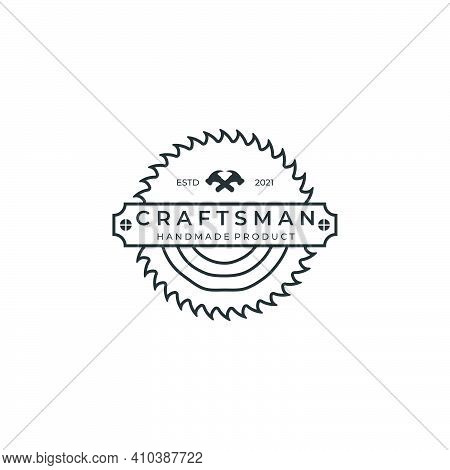 Craftsman Line Art Minimalist Logo Badge Template Vector Illustration Design. Hammer, Wood, And Saw