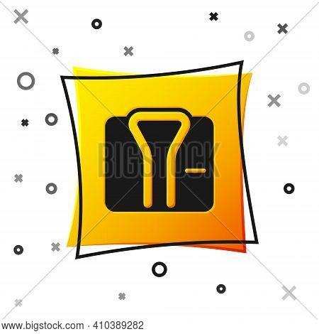 Black Bathrobe Icon Isolated On White Background. Yellow Square Button. Vector