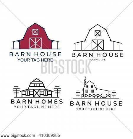 Barn House Set Bundle Icon Logo Template Vector Illustration Design