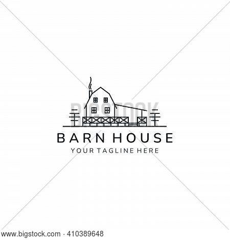 Barn House Minimalist Simple Line Art Icon Logo Template Vector Illustration Design, Farm House Mini