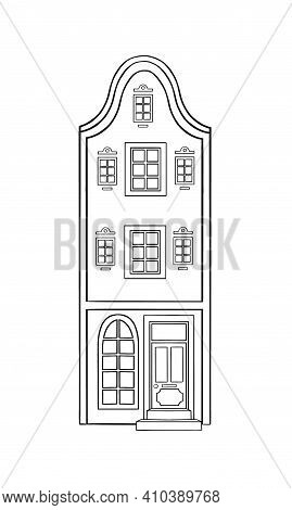 Amsterdam House Icon In Outline Style. Architecture Object Isolated On White Background. Amsterdam A