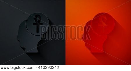 Paper Cut Cross Ankh Icon Isolated On Black And Red Background. Paper Art Style. Vector