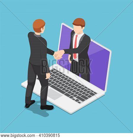 Flat 3d Isometric Businessmen Having Online Agreement And Shaking Hands Through Laptop Screen. Onlin