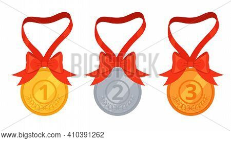 Set Of Three Medals, Gold, Silver And Bronze. First, Second And Third Place Awards. Awarding Of Winn