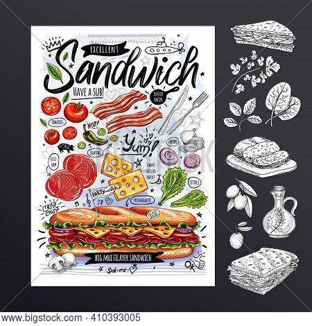 Food Poster, Ad, Fast Food, Ingredients, Menu, Sandwich, Sub, Snack. Sliced Veggies, Cheese Ham Baco