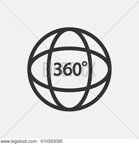 360 Icon. 360 Degree View Symbol. Vector Illustration. Eps