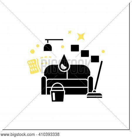 Living Room Cleaning Glyph Icon. Home Cleanup. Sofa Dry. Clutter Cleanup. Mopping, Wiping, Dusting.