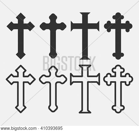 Set Of Christian Cross Icon Logo App, Ui. Vector Illustration.