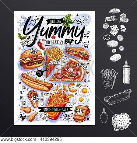 Food Poster, Ad, Fast Food, Set, Menu, Burger, Pizza Slice, Sandwich, Roll, Chicken, Fries, Hot Dog