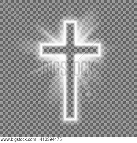 Christian Heaven. Holy Light Glow Effect. Vector Shine Symbol Of Christianity Illustration. Vector I