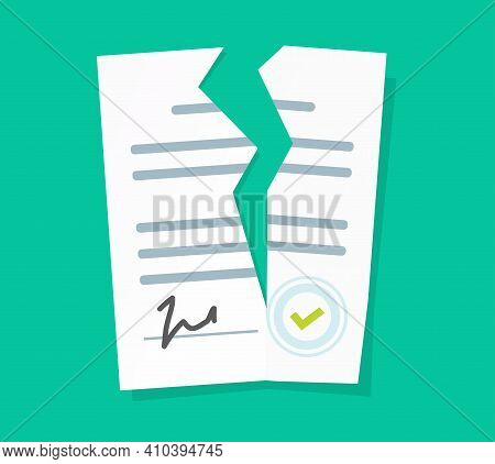 Broken Contract Vector Or Breach Of Agreement Flat Cartoon Icon, Idea Of Expired Legal Signed Docume