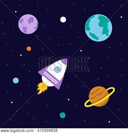 A Space Rocket Flies Between The Planets. Space Exploration. Travel To Space. Vector Illustration.