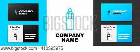 Blue Line Punching Bag Icon Isolated On White Background. Logo Design Template Element. Vector