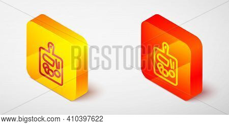 Isometric Line Cutting Board Icon Isolated On Grey Background. Chopping Board Symbol. Yellow And Ora