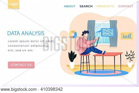 Data Analysis Landing Page Template Man With Laptop, Businessman Or Clerk Working At Desk In Home Of