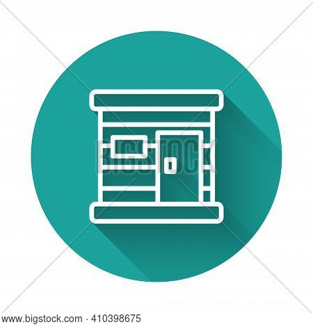 White Line Sauna Wooden Bathhouse Icon Isolated With Long Shadow Background. Heat Spa Relaxation The