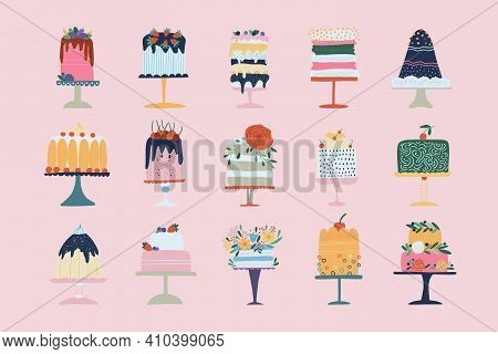 Flat Set Of Cake Birthday Vector Icons. Colorful Delicious Desserts, Birthday Cake With Chocolate An