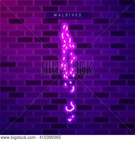 Maldives Map Glowing Neon Lamp Sign. Realistic Vector Illustration. Country Name Plate. Purple Brick