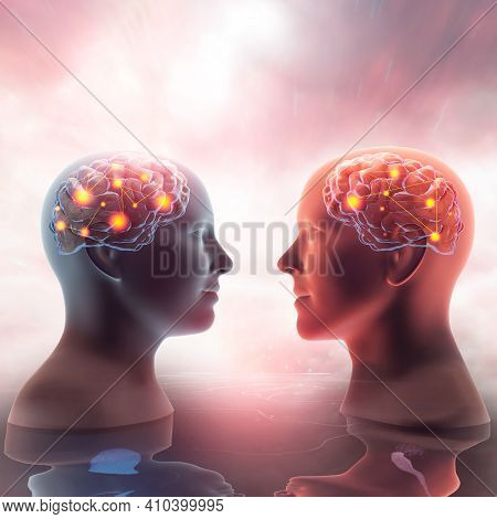 Close Up 3d Illustration Of Male And Female X-ray Silhouettes Looking At Each Other. Semi Transparen