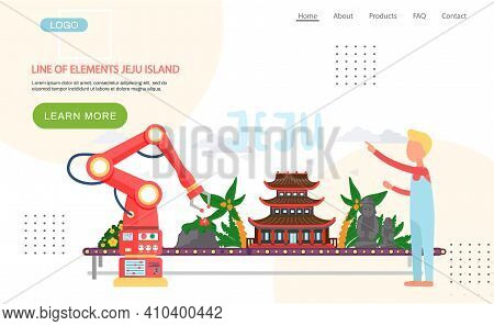 Line Of Elements Jeju Island Landing Page Template. Traditional House, Exotic Plants, Palms, Stone F