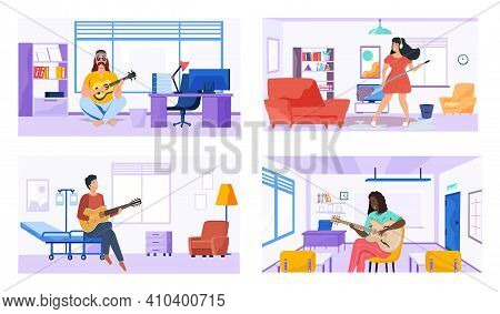 Characters Play Guitar And Write Songs. Set Of Illustrations With Performers Practice Chords And Com
