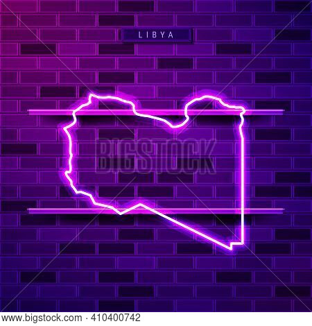 Libya Map Glowing Neon Lamp Sign. Realistic Vector Illustration. Country Name Plate. Purple Brick Wa