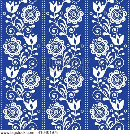 Scandinavian Ethnic Seamless Folk Art Vector Pattern With Flowers And Hearts, Nordic Vertical Orname