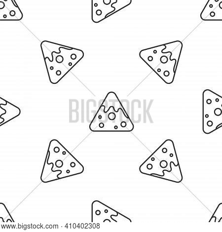 Grey Line Nachos Icon Isolated Seamless Pattern On White Background. Tortilla Chips Or Nachos Tortil