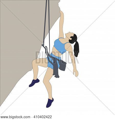 Woman Hang On Rock Cliff, Extreme Solo Cimbing. Climber Go To Up To Mountain, Risky Accomplish, Vect