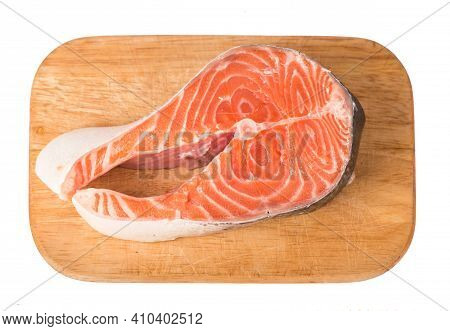 Salmon. Fresh Raw Salmon Red Fish Steak Isolated On A White Background