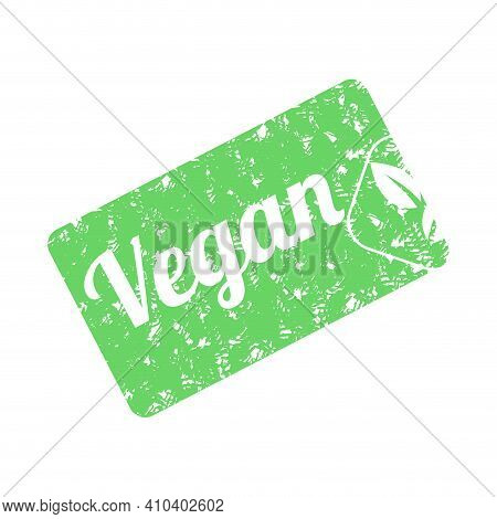 Vegan Product Stamp. Logo Design. Green Vegan Product Stamp For Lifestyle Design. Vector Template, V