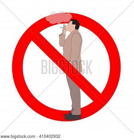 Banned Smoking Area Zone, No Smoke Sign. Vector Danger Smoking, Prohibit And Banned Area Zone, No Sm