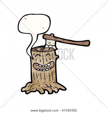 cartoon axe in tree stump