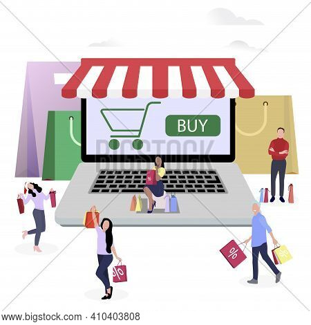 Shopping Online, People Buy In Internet Shop Use Laptop. Vector Buying Internet, Smiling People With